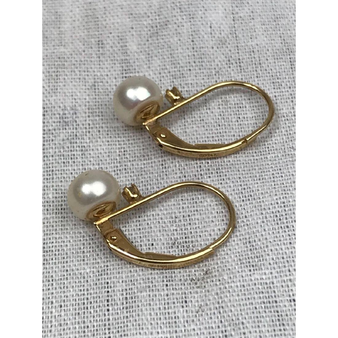 14K Gold and Pearl Earrings - 4