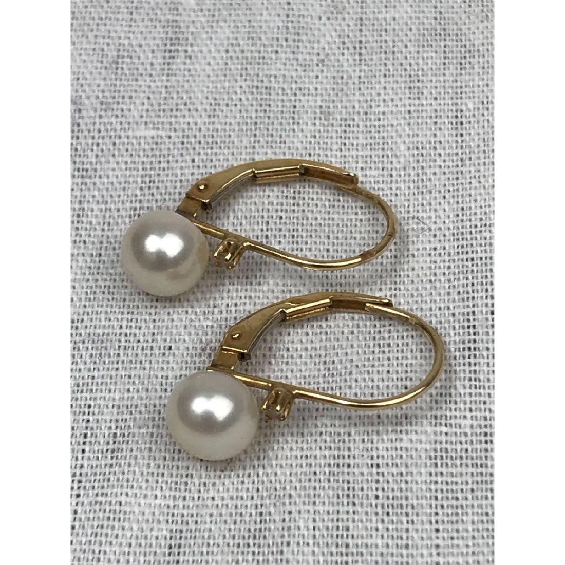14K Gold and Pearl Earrings - 5