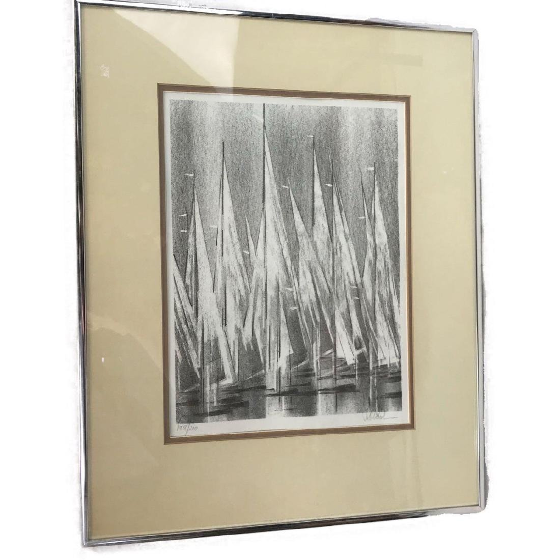 A Stunning Monotone Print of Boat Sails, Signed