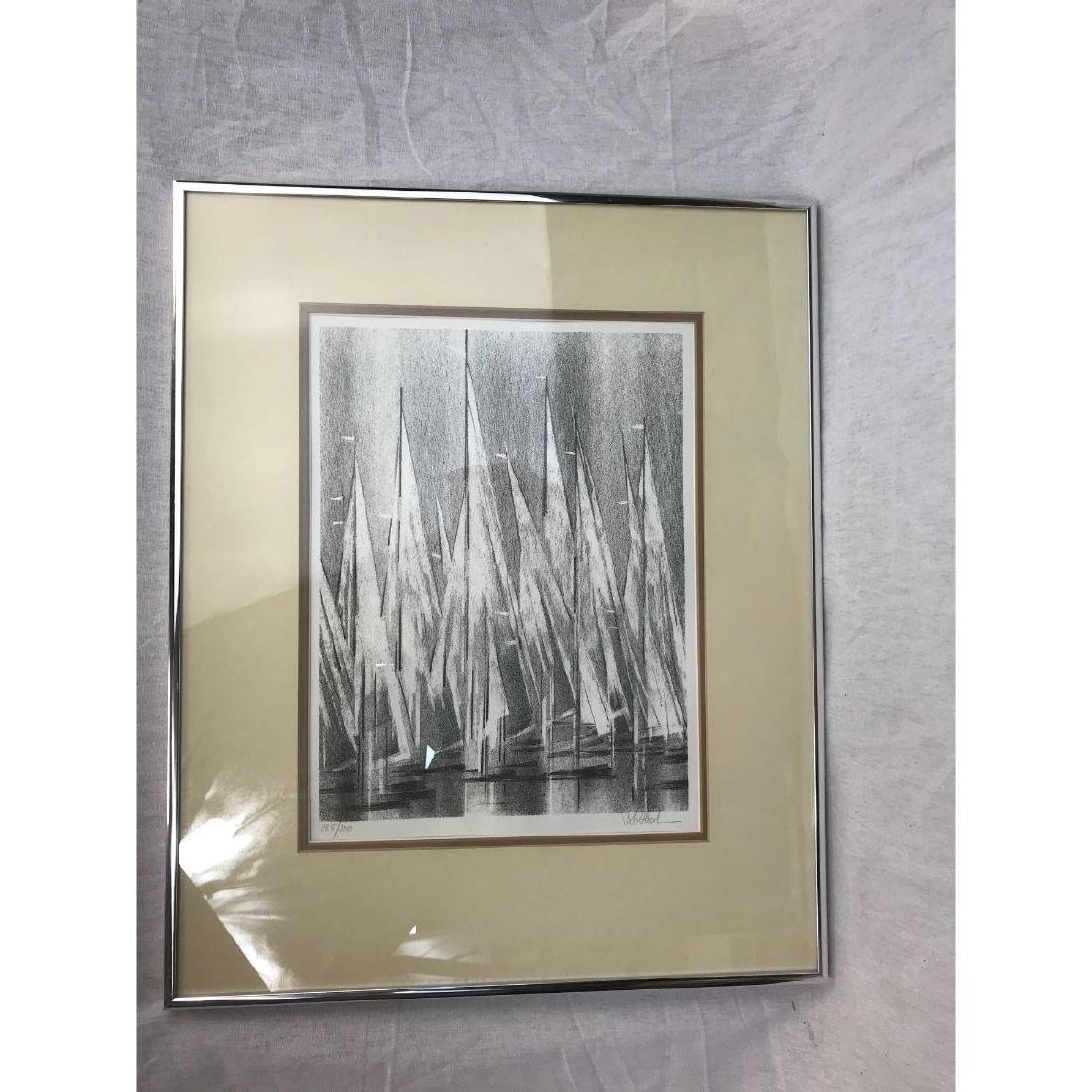A Stunning Monotone Print of Boat Sails, Signed - 2