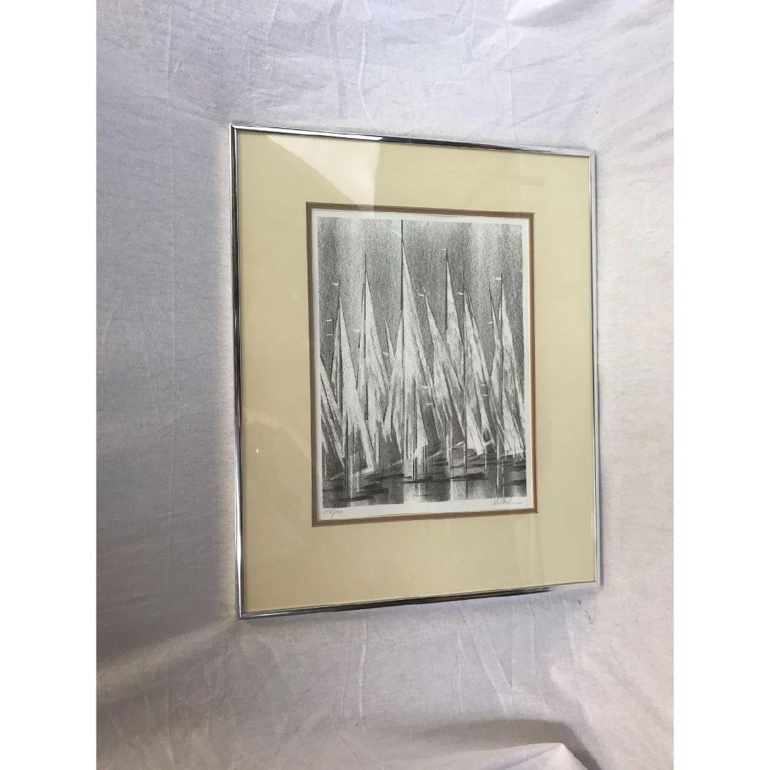 A Stunning Monotone Print of Boat Sails, Signed - 3