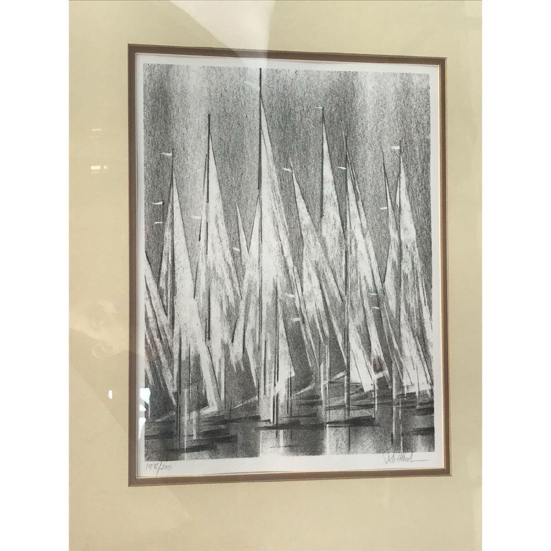 A Stunning Monotone Print of Boat Sails, Signed - 4