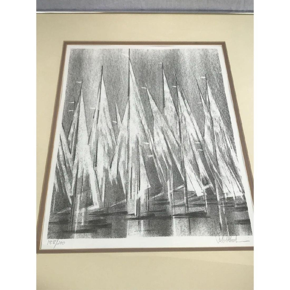 A Stunning Monotone Print of Boat Sails, Signed - 8