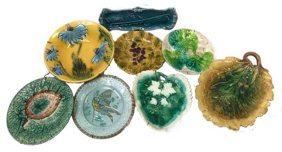 Lot of 8 Majolica Art Pottery Decorative Plates