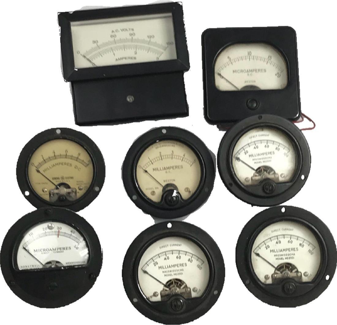 8 Vintage Voltage Meters Gauges