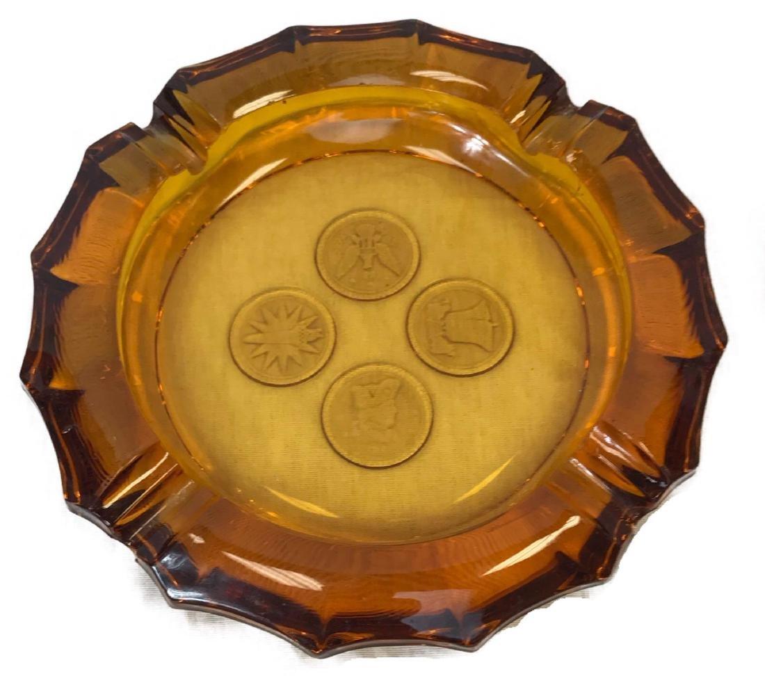 Vintage Fostoria Amber Coin Glass Ashtray