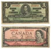 Canadian Currency One and Two Dollar Notes