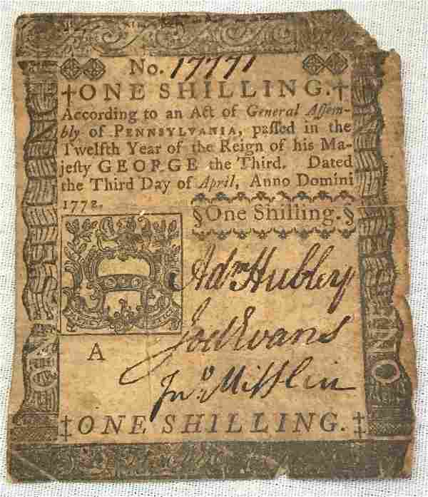 1772 Colonial Currency Pennsylvania