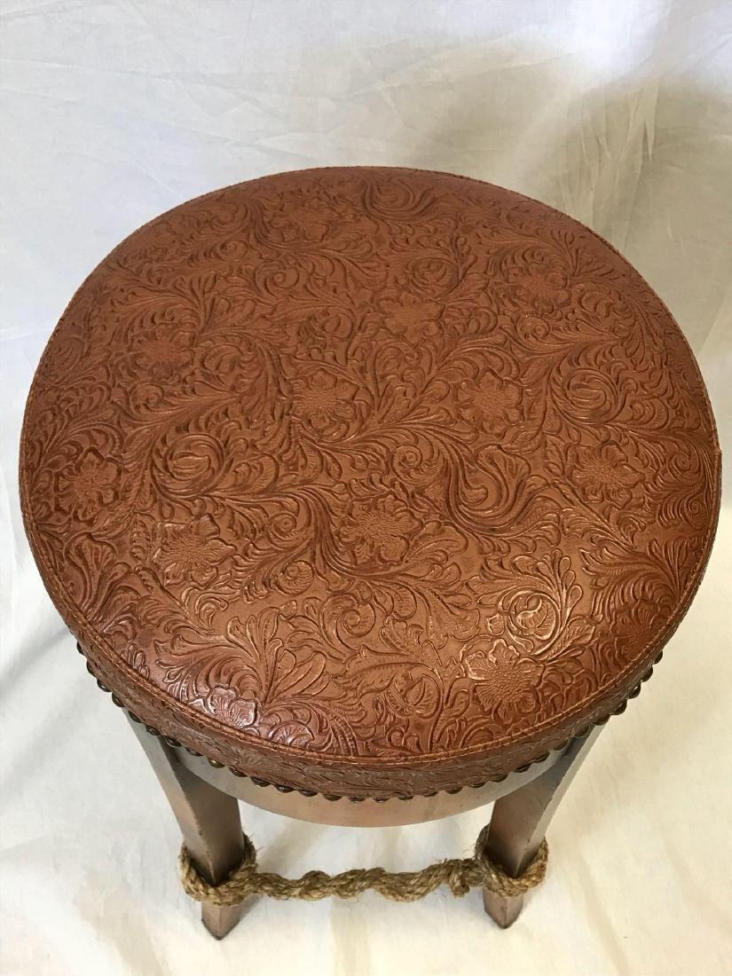 Unique Leather Top Bar Stool - 4