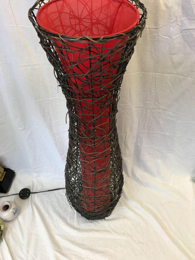 Mid Century Modern Woven Vine and Cloth Floor Lamp - 10