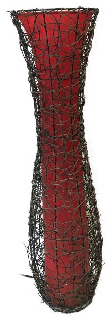 Mid Century Modern Woven Vine and Cloth Floor Lamp