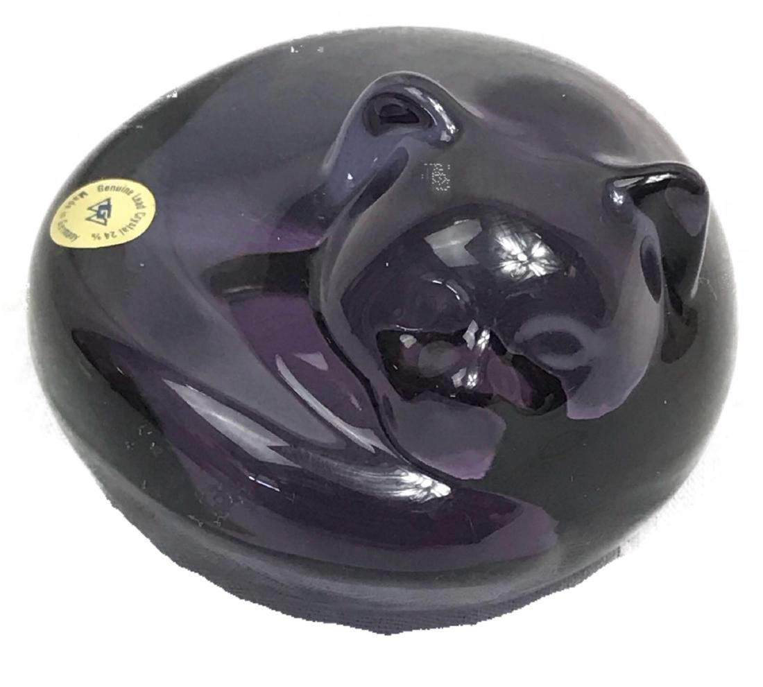 German Lead Crystal Curled Cat Paperweight