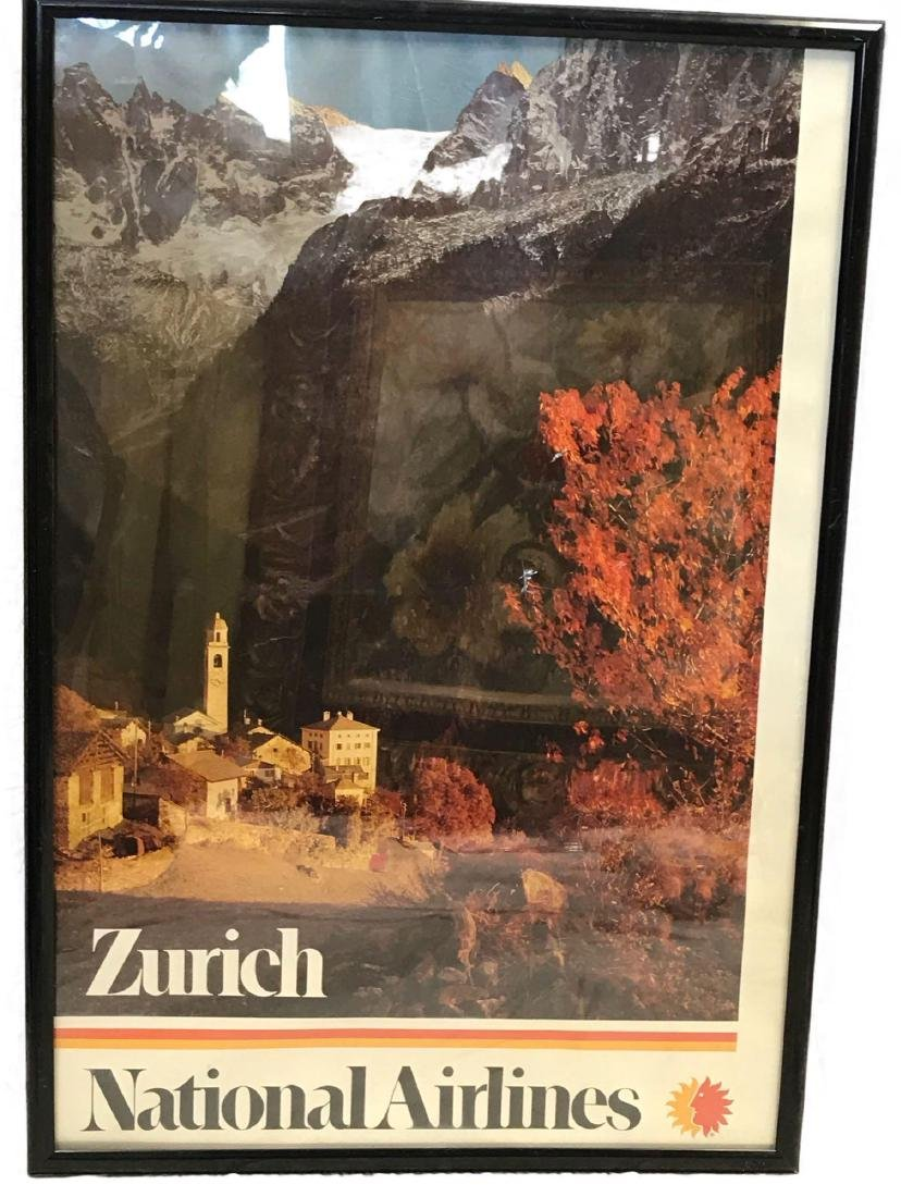 Vintage National Airlines Travel Poster Zurich