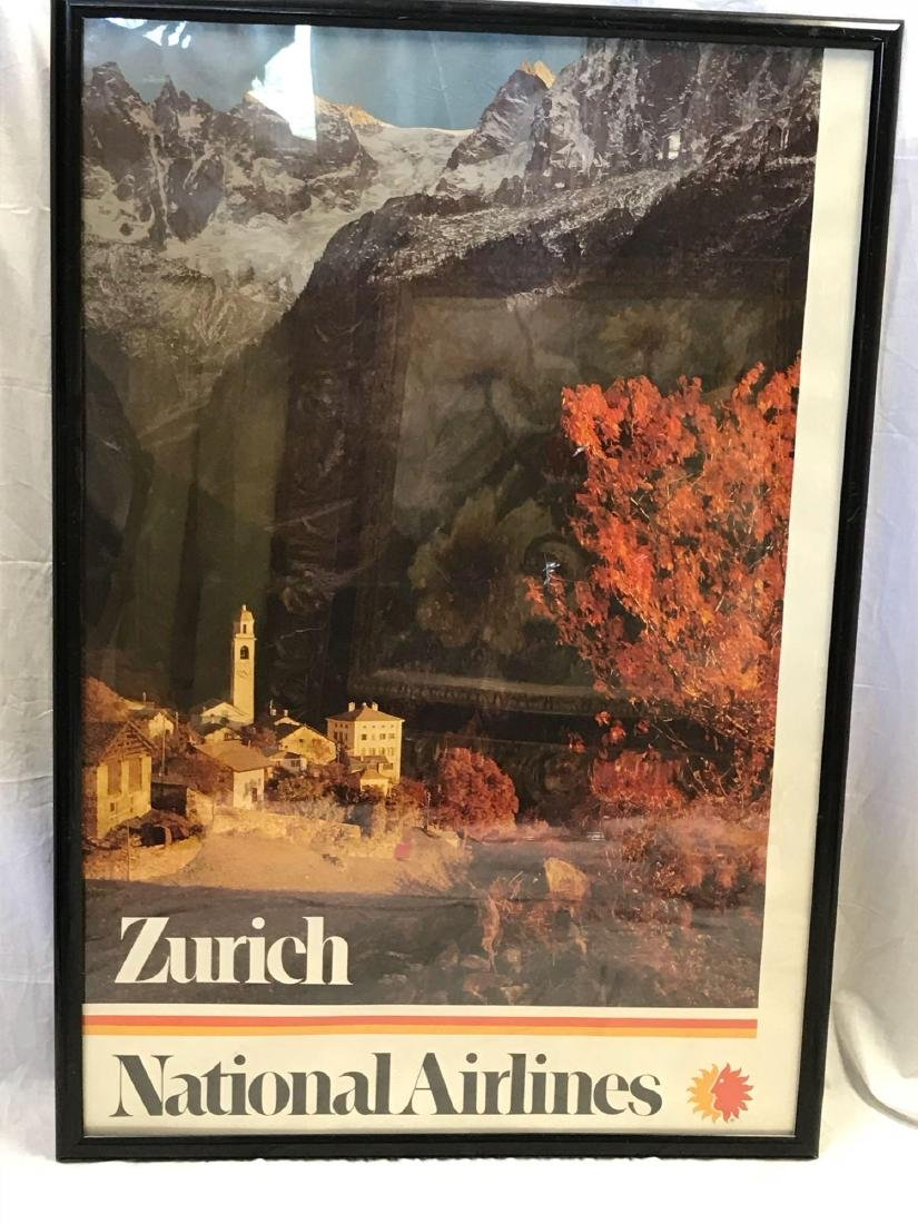 Vintage National Airlines Travel Poster Zurich - 2