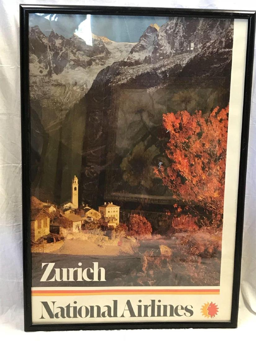 Vintage National Airlines Travel Poster Zurich - 3