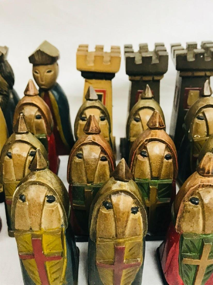 Vintage Hand Carved Knights Templar Chess Set - 10