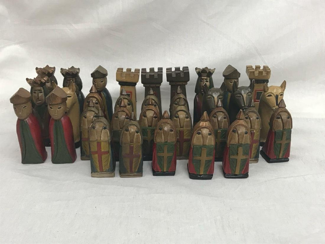Vintage Hand Carved Knights Templar Chess Set - 5