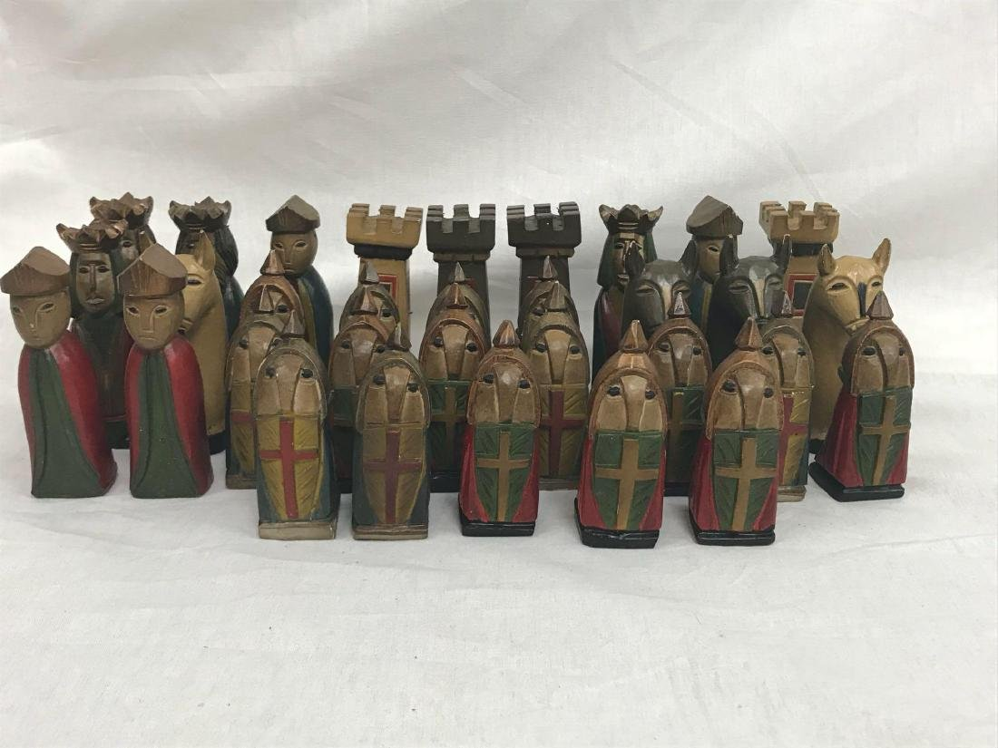 Vintage Hand Carved Knights Templar Chess Set - 6