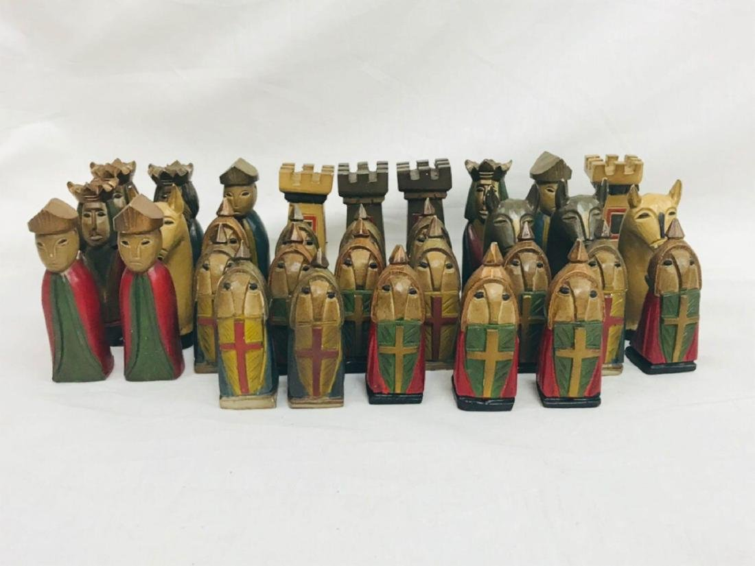 Vintage Hand Carved Knights Templar Chess Set - 7