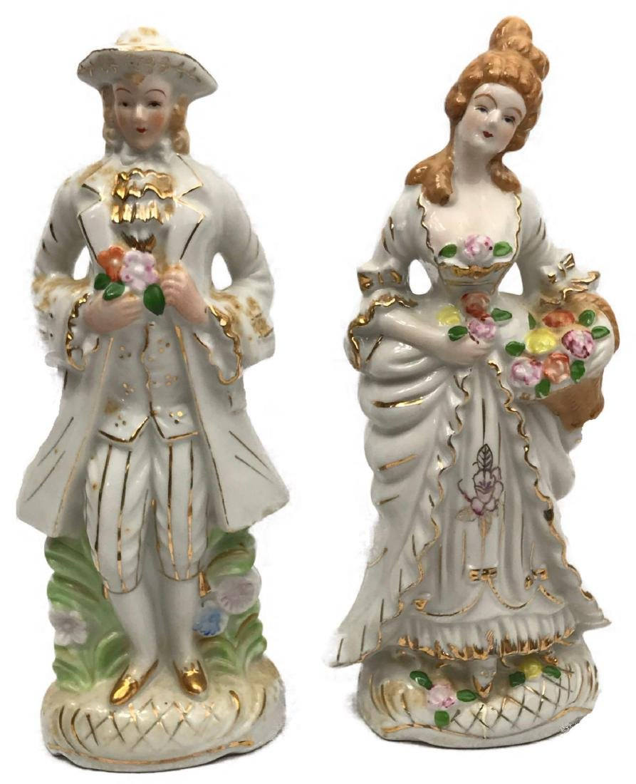 Set of Porcelain Figurines, Young Man, Young Woman