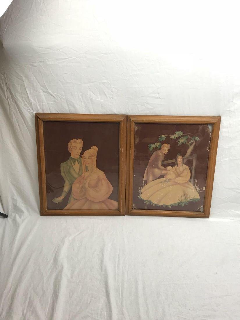 Pair of Antique Victorian Lithographs, Young Lovers, - 3