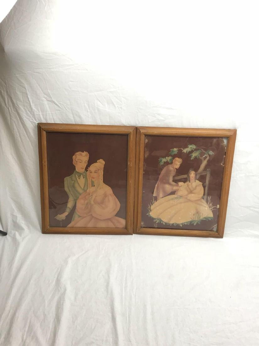 Pair of Antique Victorian Lithographs, Young Lovers, - 4