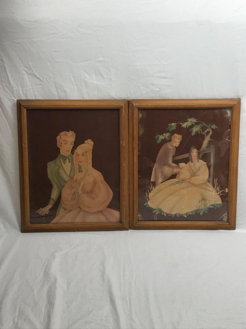 Pair of Antique Victorian Lithographs, Young Lovers, - 5