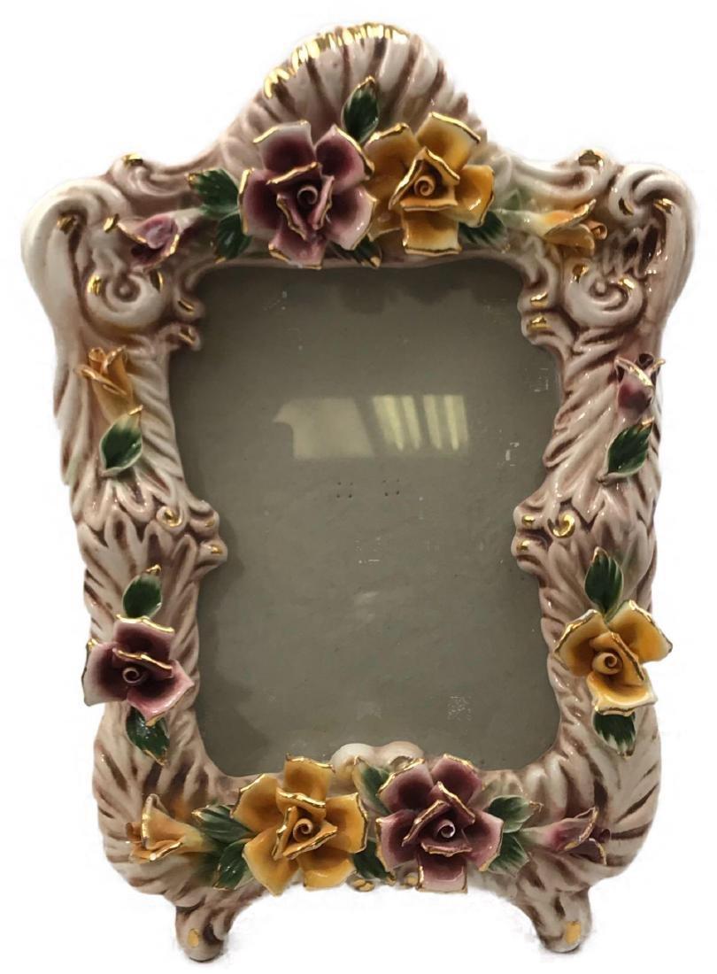 Vintage Capodimonte Porcelain Picture Frame, Marked