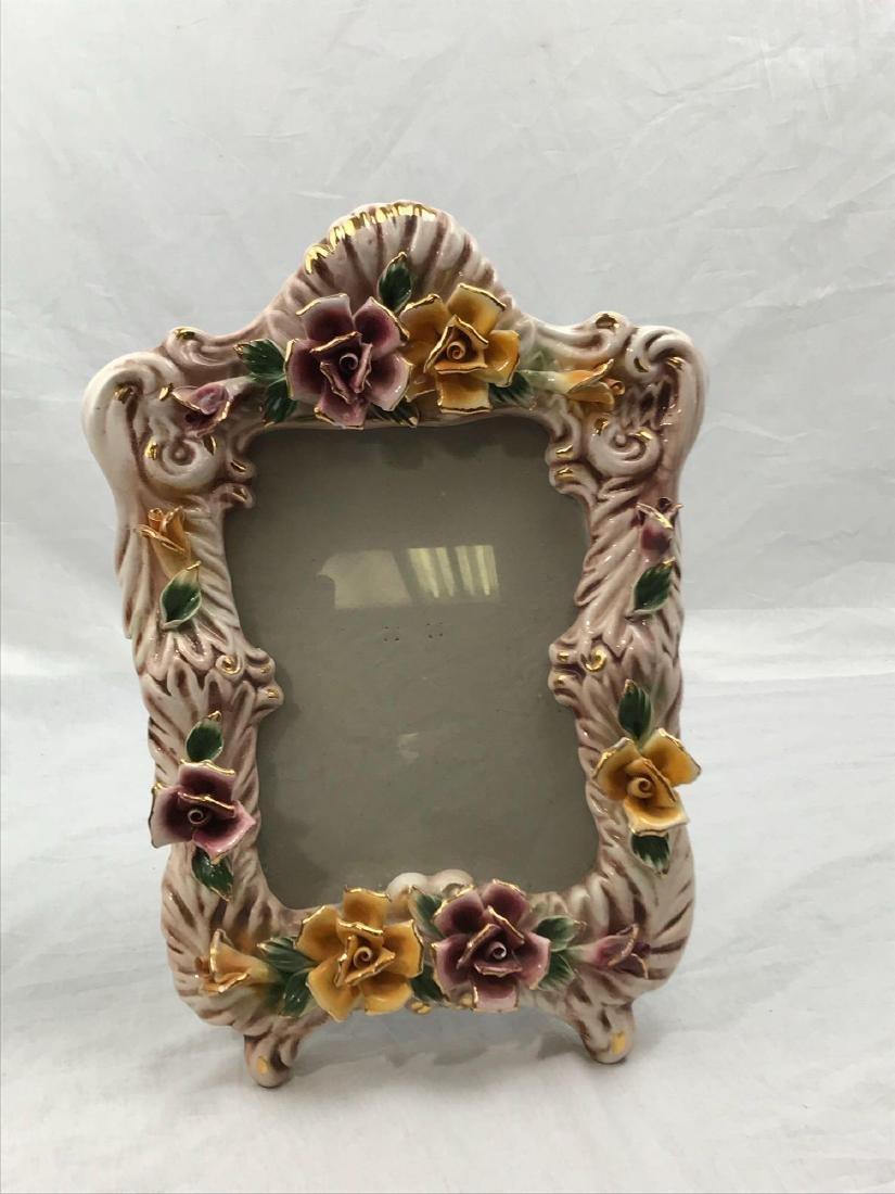 Vintage Capodimonte Porcelain Picture Frame, Marked - 3