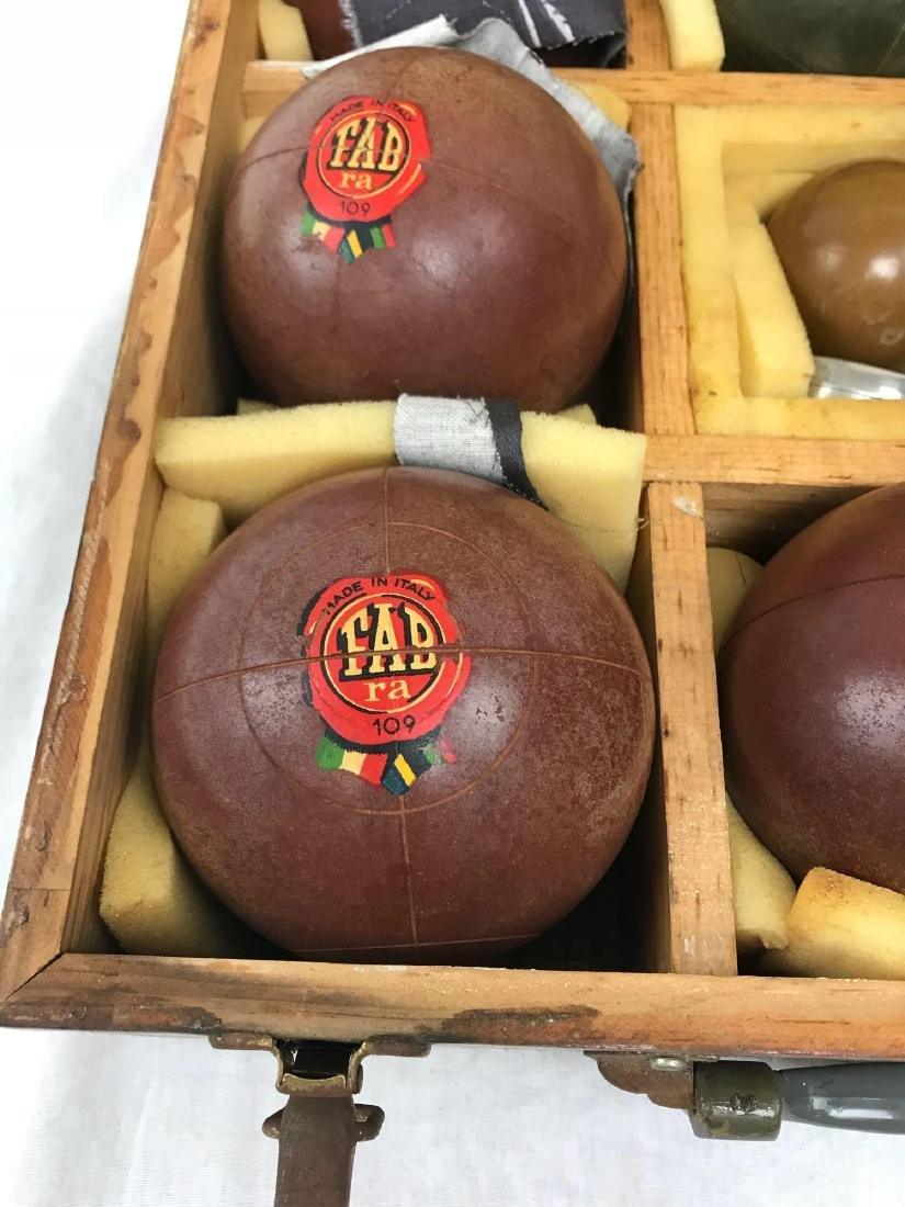 Vintage Bocce Lawn Bowl Set, in Mahogany Carrying Case - 3
