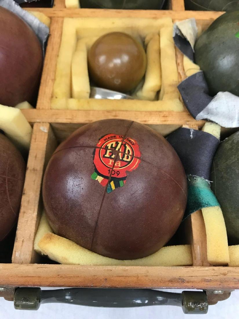 Vintage Bocce Lawn Bowl Set, in Mahogany Carrying Case - 4