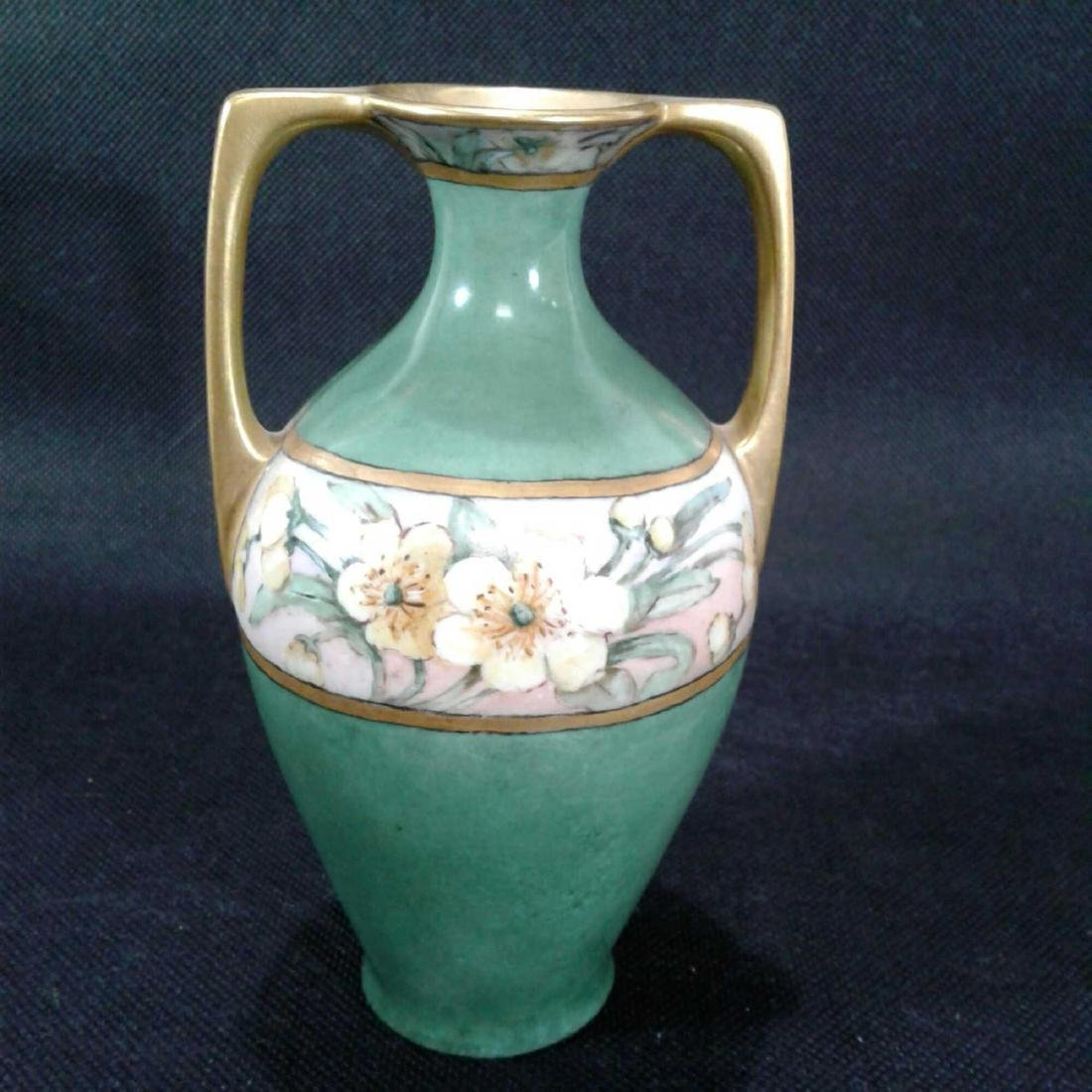 Signed Heise Green and Gold Flowered Vase