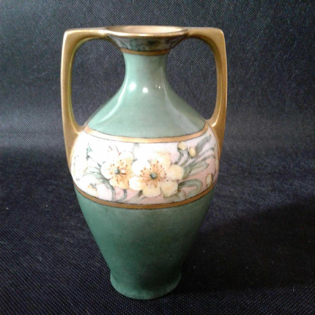 Signed Heise Green and Gold Flowered Vase - 2