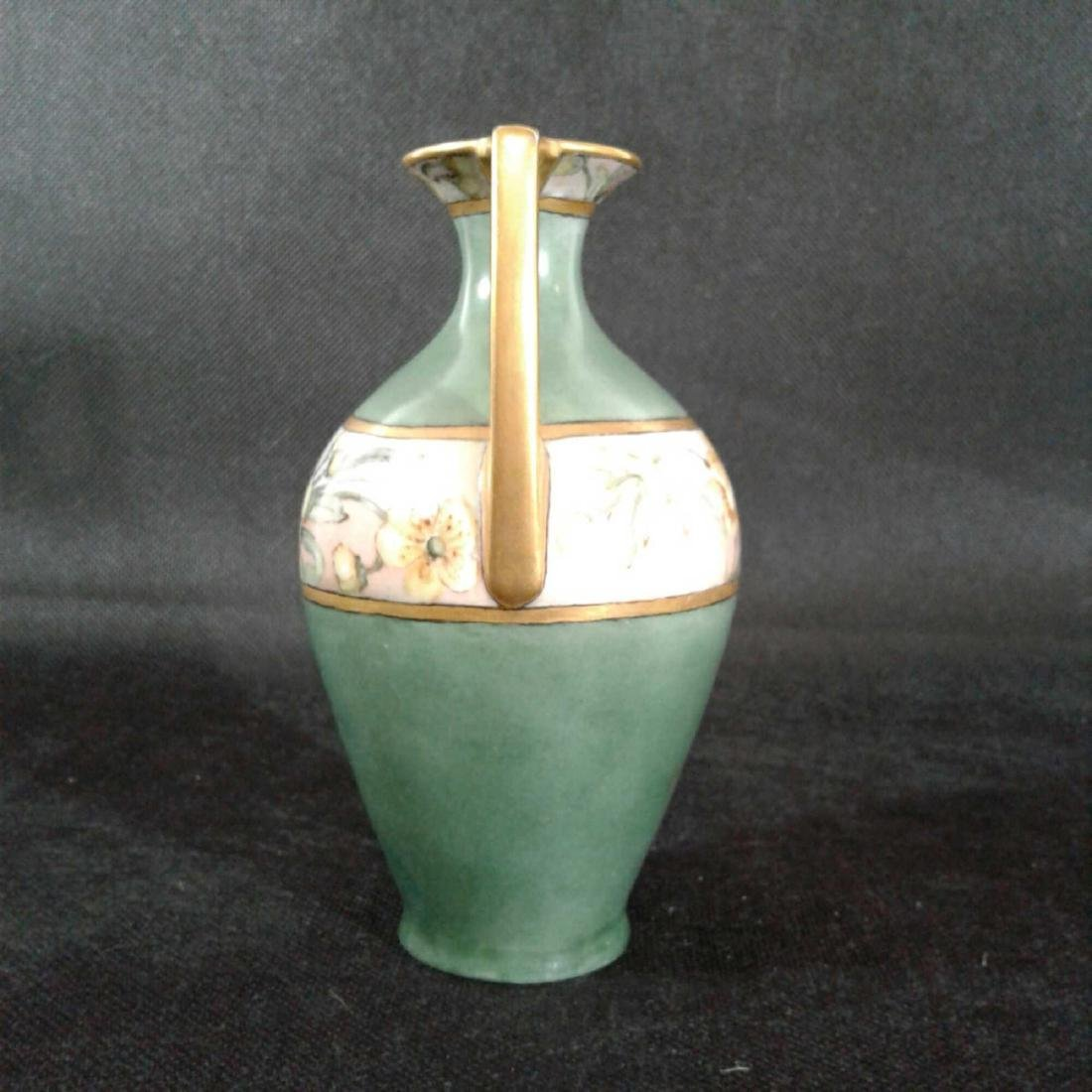 Signed Heise Green and Gold Flowered Vase - 4