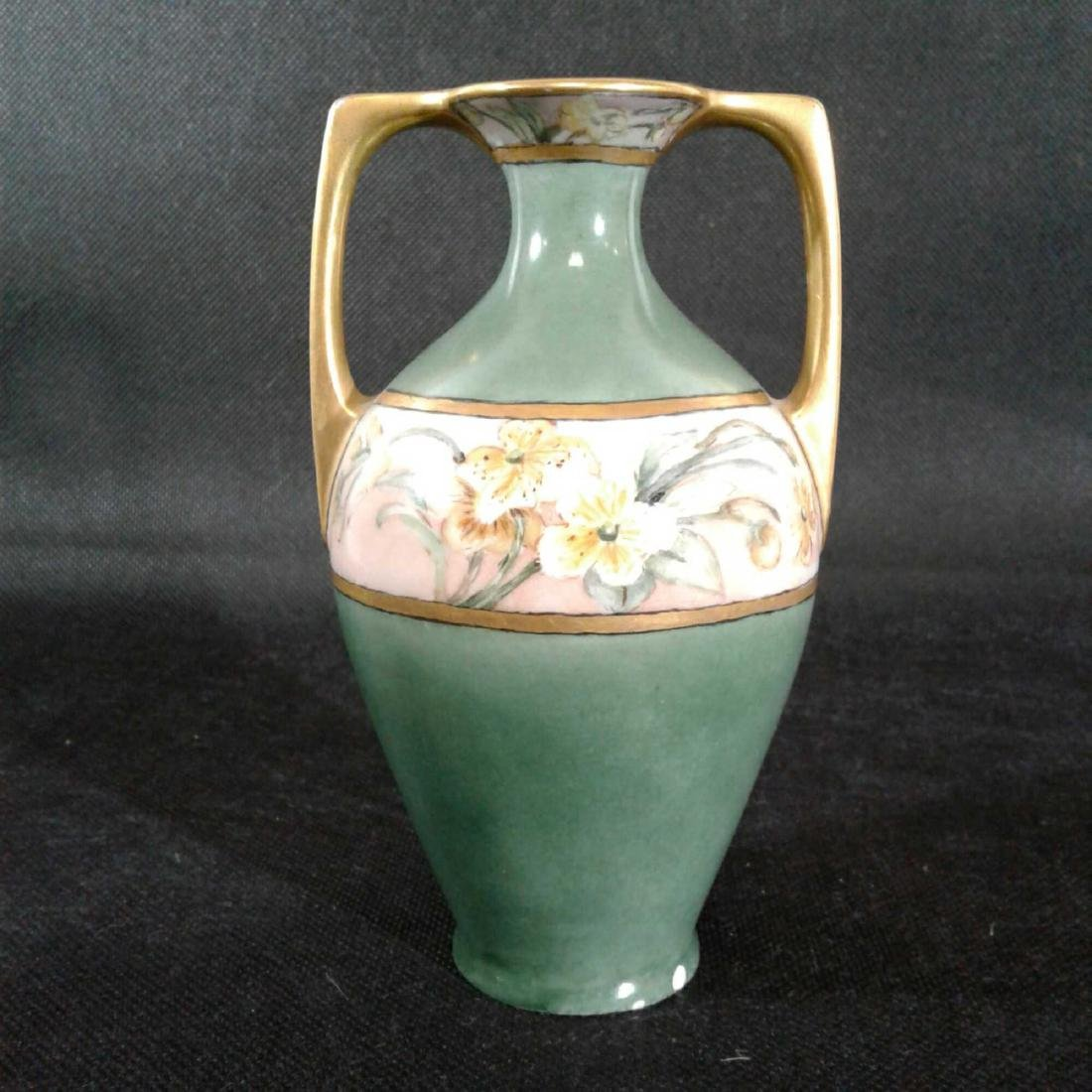 Signed Heise Green and Gold Flowered Vase - 5