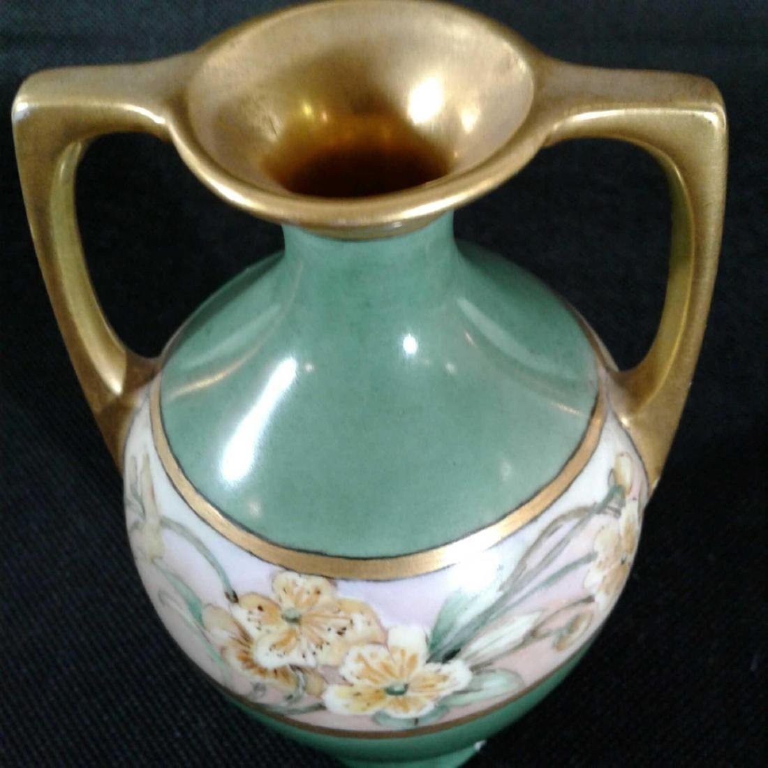 Signed Heise Green and Gold Flowered Vase - 6