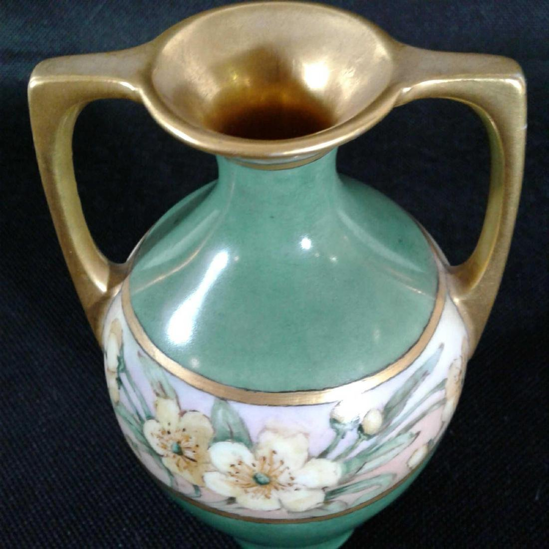 Signed Heise Green and Gold Flowered Vase - 7