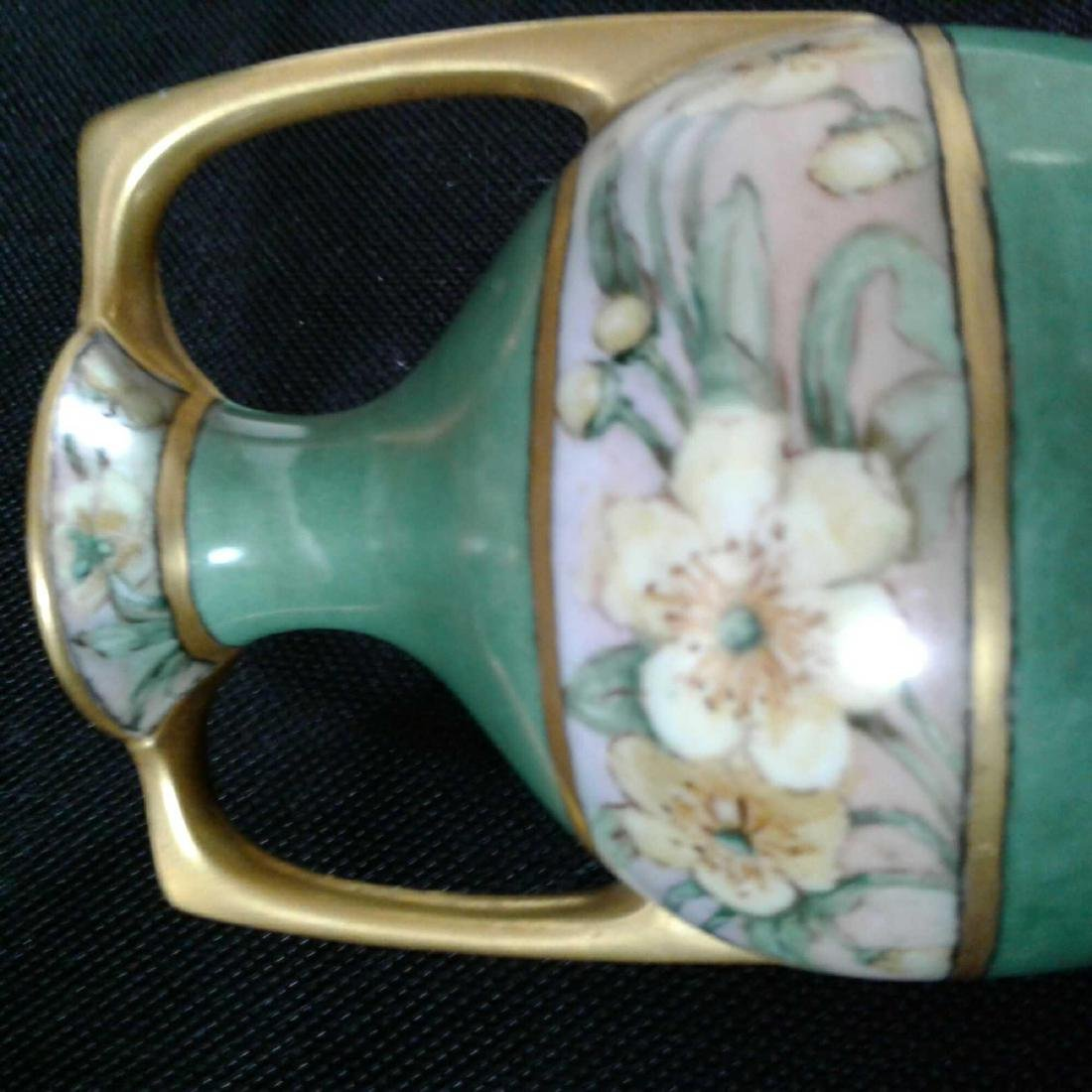 Signed Heise Green and Gold Flowered Vase - 8