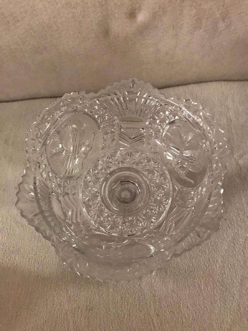 Cut Glass Pedestal Candy Dish With Lid - 4