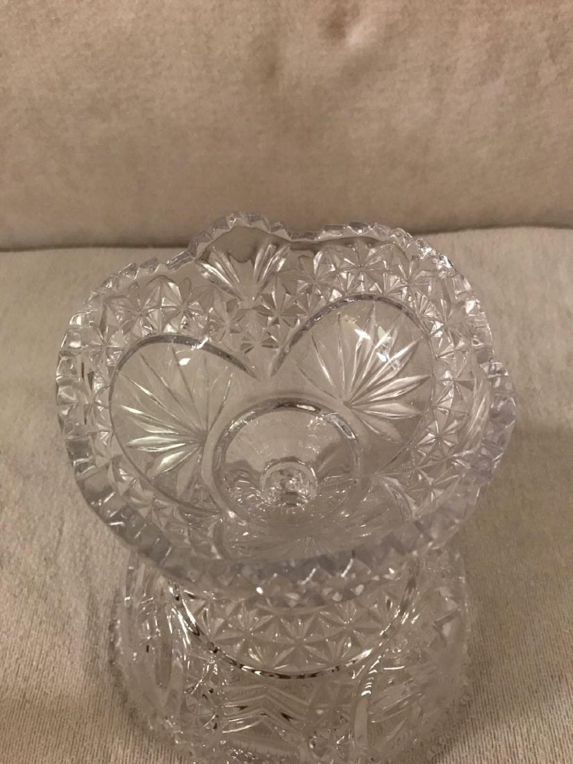 Cut Glass Pedestal Candy Dish With Lid - 6