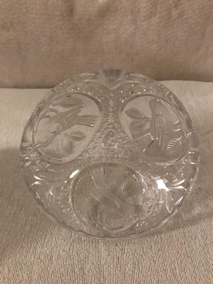 Cut Glass Pedestal Candy Dish With Lid - 7