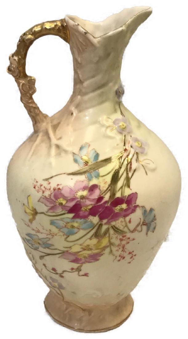 Antique Austrian Porcelain Pitcher, Hand-painted