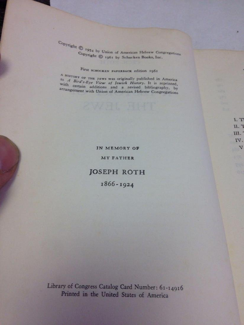 Book, A History of the Jews, by Cecil Roth, 1961 - 7