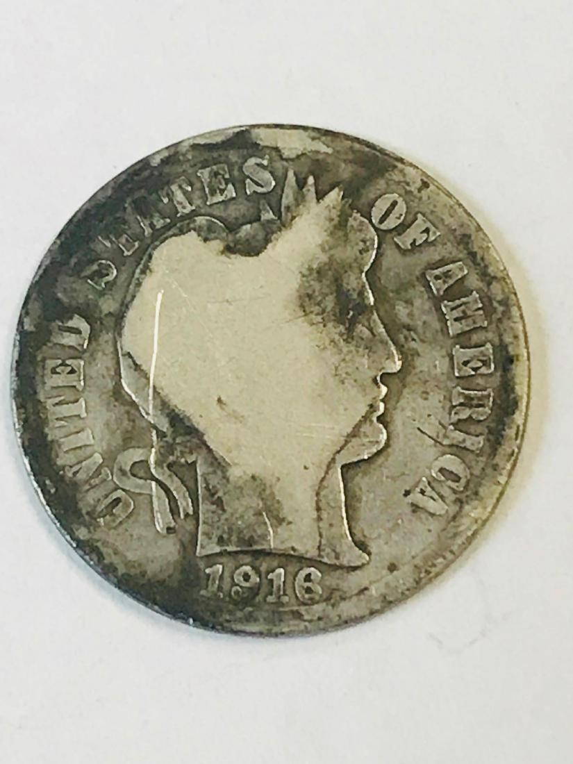 1916 Silver Barber Dime - 2