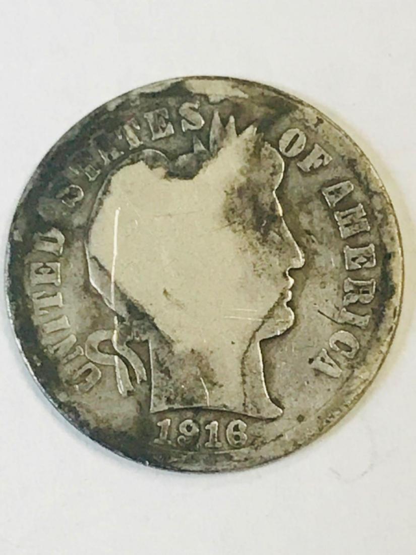 1916 Silver Barber Dime - 3