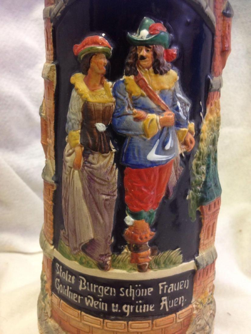 huge 3L Vintage German Beer Stein with Pewter Lid - 3