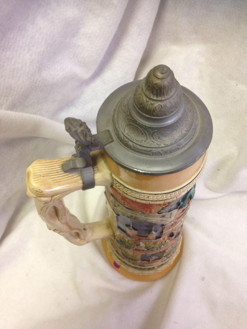 huge 3L Vintage German Beer Stein with Pewter Lid - 5