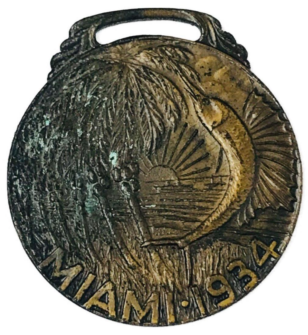 Vintage Bronze Medallion From Miami, 1934