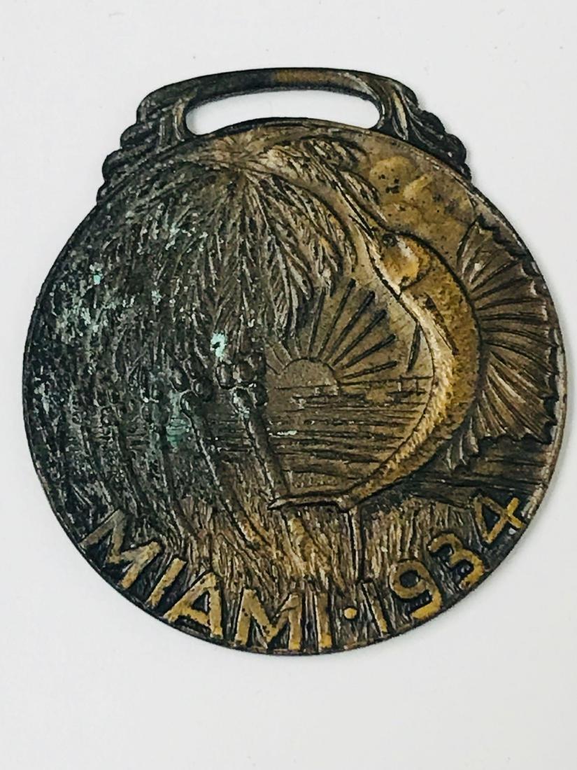 Vintage Bronze Medallion From Miami, 1934 - 2