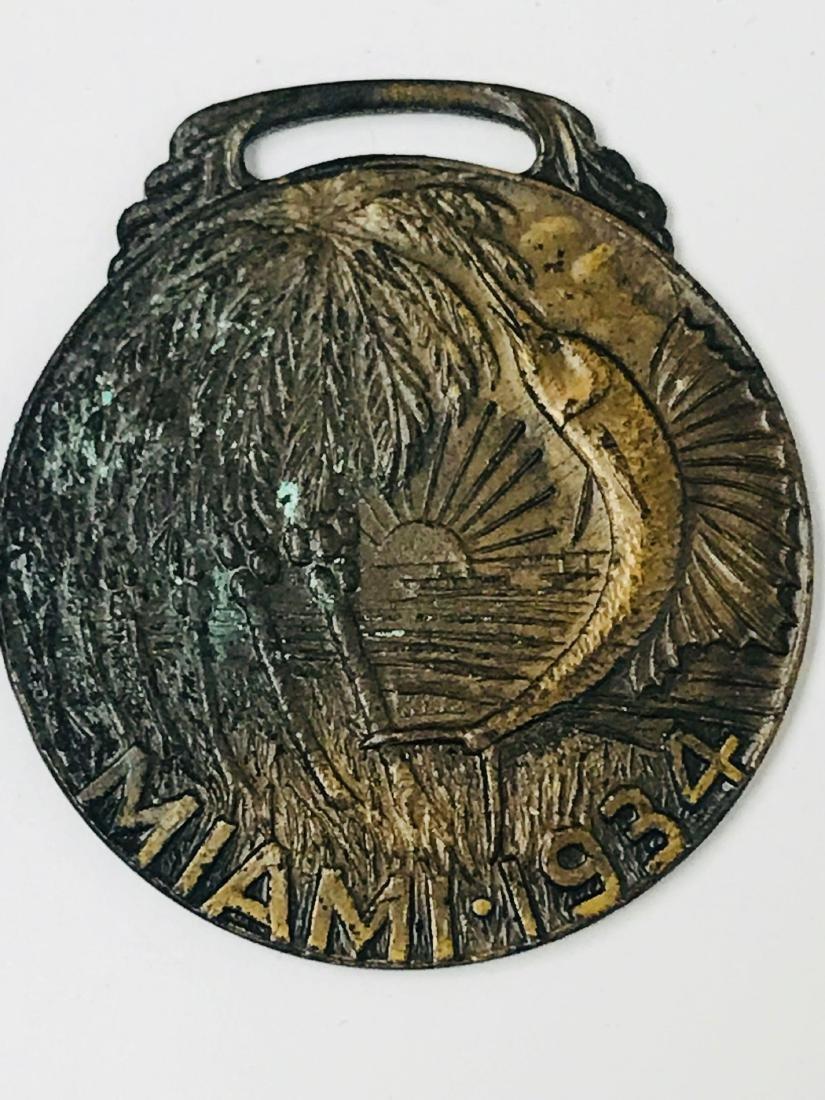 Vintage Bronze Medallion From Miami, 1934 - 3